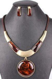 Pendant brown fashion necklace + earrings woman newest