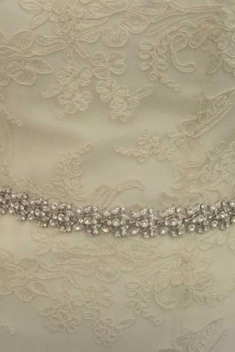 Collette - Glamorous Crystal Jeweled Bridal Belt / Sash