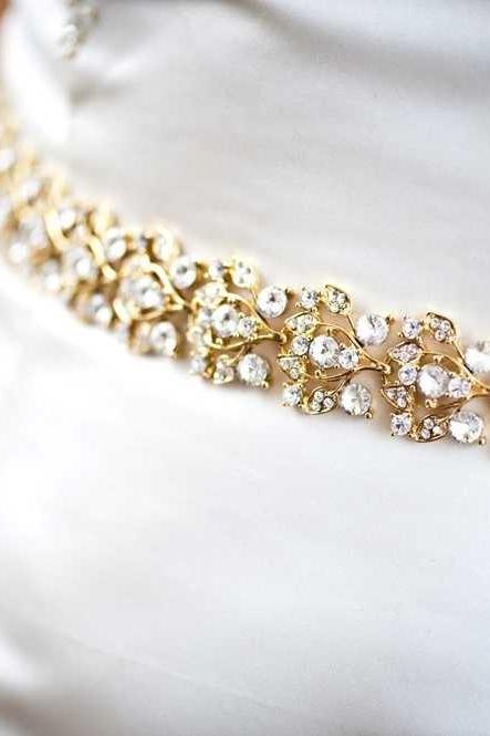 Collette - Glamourous Gold Crystal Jeweled Bridal Belt / Sash