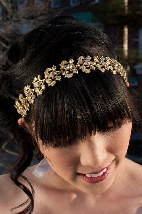 Collette - Gold Crystal Jeweled Ribbon Headband
