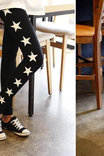 Cute Star Printed Leggings In Black