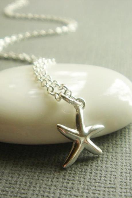 Beach Theme Starfish Sterling Silver Necklace