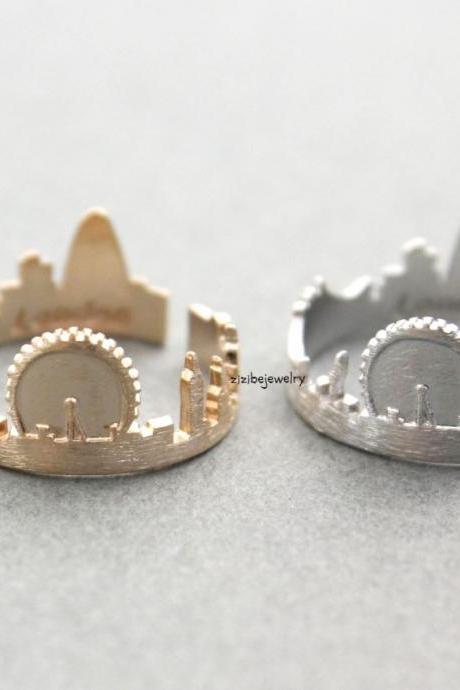 Cityscape Ring, Skyline ring- London, adjustable ring in 3 colors- Adjustable Ring, R0321K