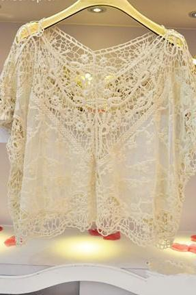 Japanese Style Crochet Lace Shirt Tops