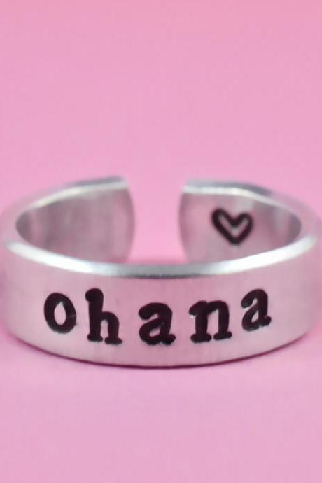 ohana - Hand Stamped Pure Aluminum Ring, Shiny Skinny Metal Cuff Ring, Family Ring, Personalized Gift
