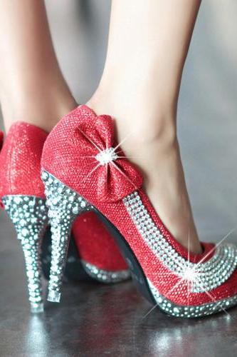 Red Rhinestone and Bow Embellished High heels Shoes