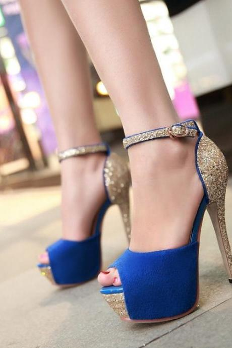 Blue Peep toe Ankle Strap High Heels Fashion Sandals