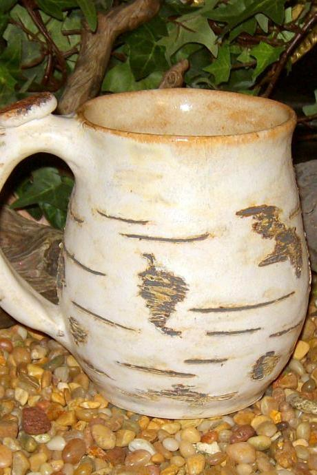 earthy birch tree bark coffee mug stoneware pottery made to order