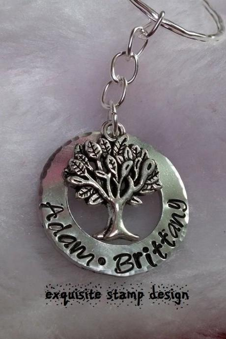 Personalized Family Tree Hand Stamped Necklace or Keychain
