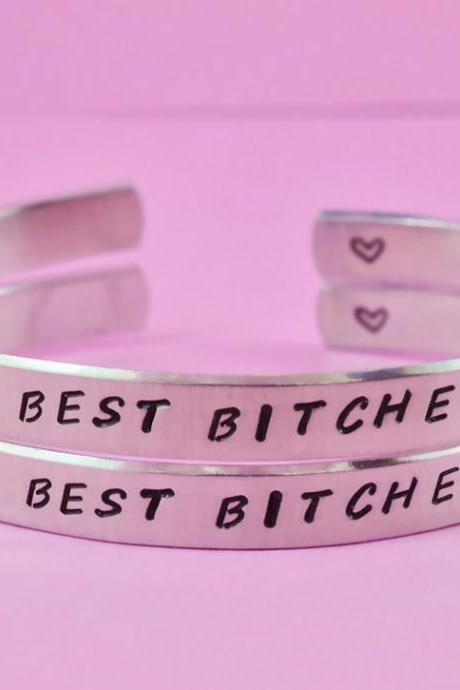 BEST BITCHES - Hand Stamped Aluminum Cuff Bracelets Set, Forever Love, Friendship, BFF Gift, Sisters Gift, Handwritten Font