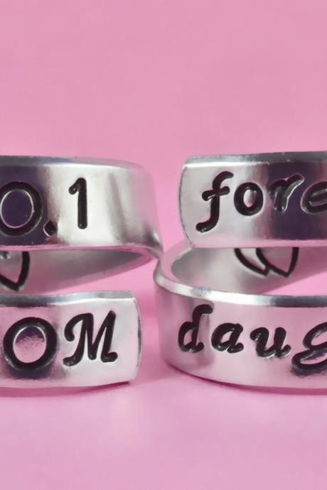 NO.1 MOM/forever daughter - Spiral Rings Set, Hand stamped Aluminum Rings, Forever Love, Mother Daughter Rings, Mother Day Gift