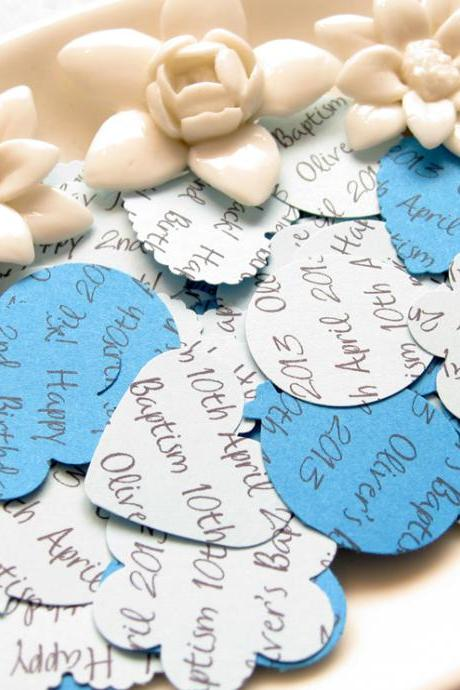 500 x Personalised Blue Confetti - 4 Shapes to Choose - Great for Baby Showers, Christenings, Birthdays
