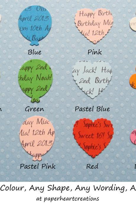 1000 Personalised Confetti - Choice of 4 shapes, 12 Colours of Card - Great for Special Occassions
