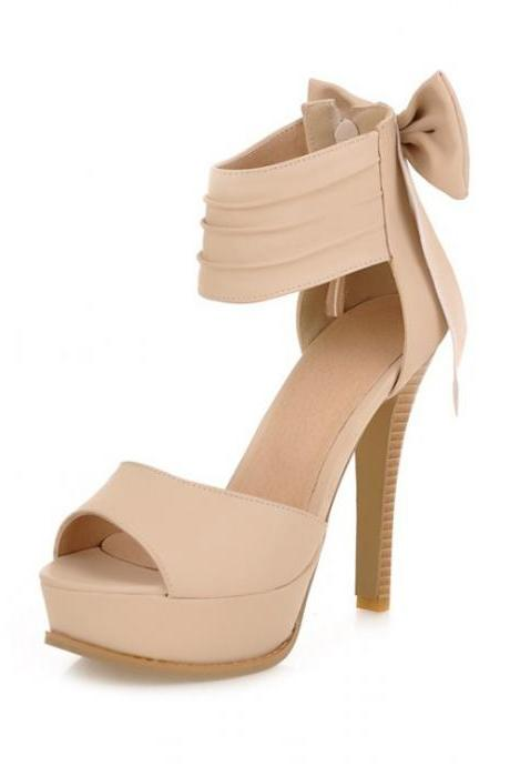 High Heel Ankle Strap Beige Sandals