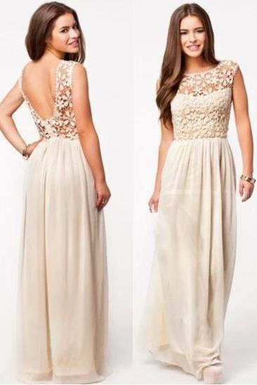 Sexy Backless Floral Lace Chiffon Formal Evening Prom Party Dress For Women Maxi Dress