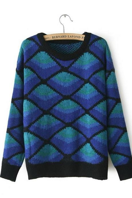 Geometric Argyle Sweater