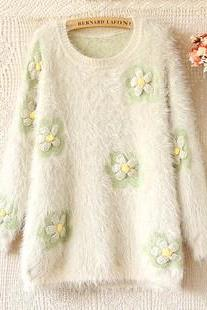 Flowers Jumper Sweater Mohair Long-sleeved Loose Sweaters