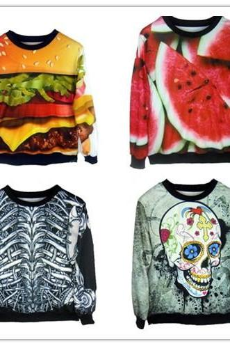 Sweater Jumper Sweatshirts Punk Star Fashion Skeleton Printing Hamburg Watermelon Skull