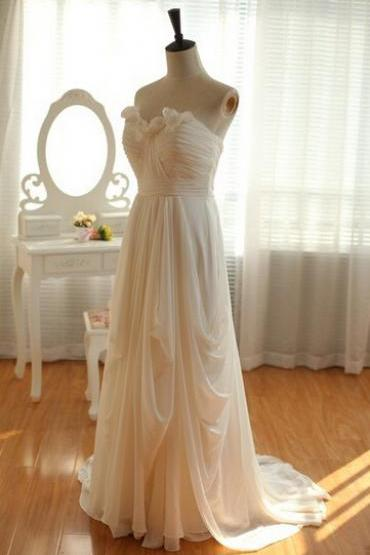 Elegant Chiffon Prom Dresses Pleat Sweetheart Zipper Floor Length Sweep Train, Bridesmaid Dresses 2015, Formal Dresses, Evening Dresses