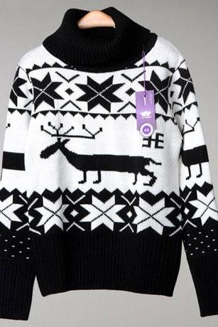 Fashion Black Christmas Deer Snowflake High Collar Sweaters