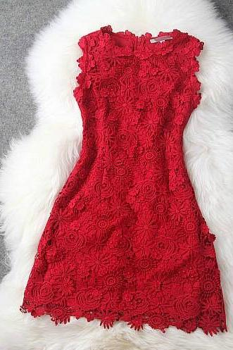 Red Embroidery Beading Temperament Sleeveless Dress