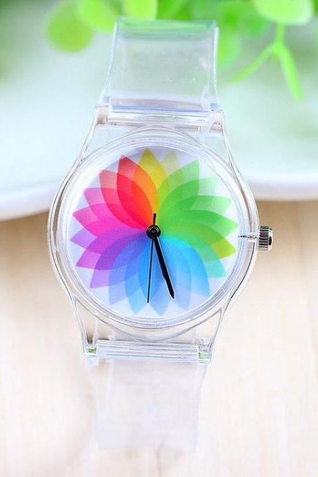 Colorful rubber kids girl watch