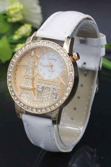 Eiffel towel Triumphal arch purple face dress girl watch