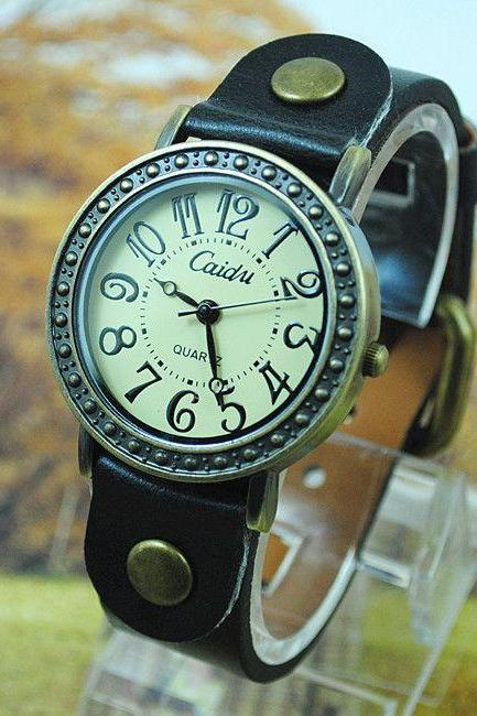 Vintage dress leather black strap woman watch