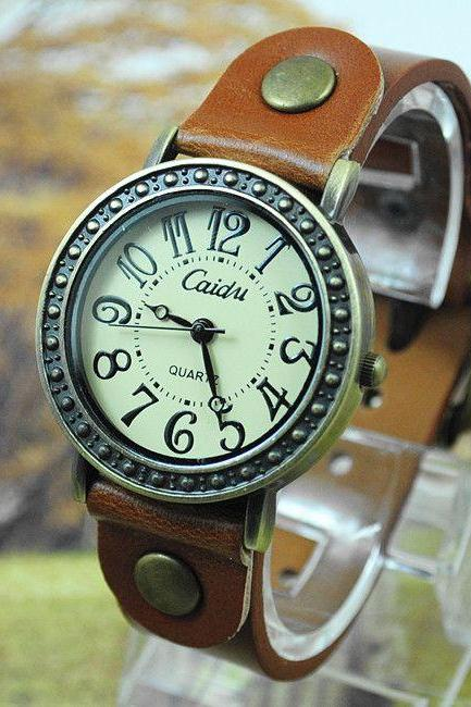 Vintage dress leather strap woman watch