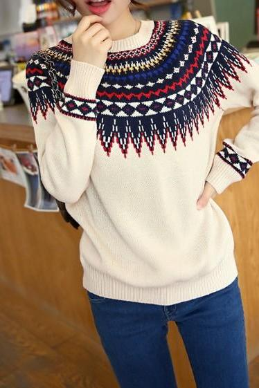 Vintage Preppylook Round Neck Floral Casual Knitted Sweater One Size As Women's Fashion Christmas Gift