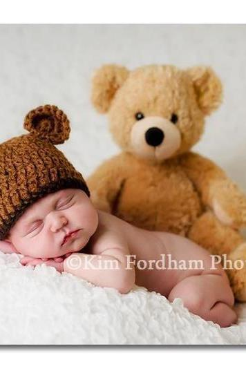 Crochet baby beanie hat - Newborn baby bear hat - Crochet baby hat - Bear hat - Photo prop -