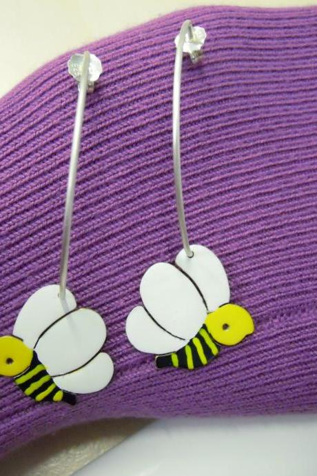 Bees Hoop Earrings