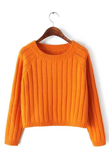 Korean Fashion Women Solid Color Round Neck Casual Short Knitted Winter Sweater Pullover One Size