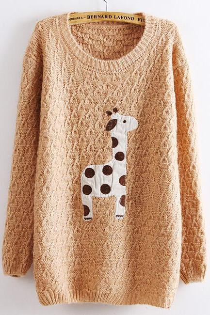 Light Pink Super Adorable Cartoon Giraffe Loose Pullover Sweater