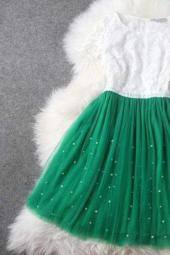 Pretty Green And White Organza Dress/Summer Dress/Dresses/Dress 2014 Lace Dress