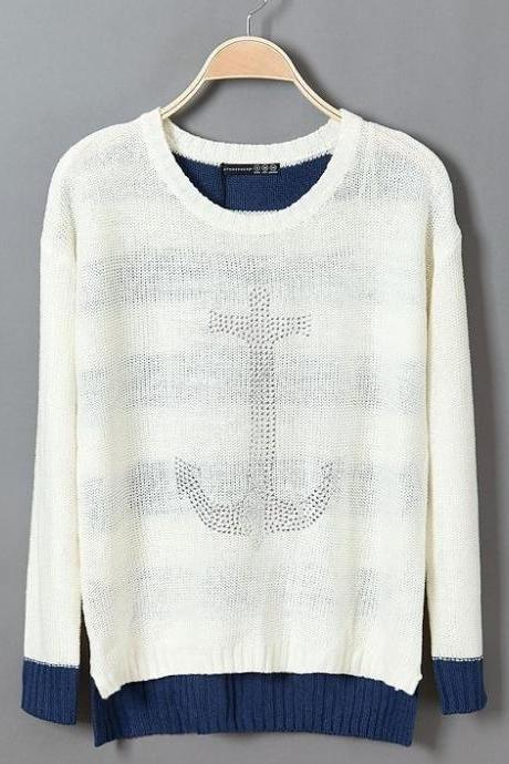 White Stick The Anchor Loose Thin Sweater