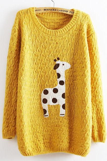 Yellow Super Adorable Cartoon Giraffe Loose Pullover Sweater