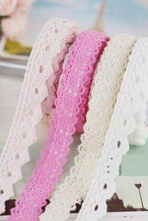 Choose Your Color - Sweet Lace Crochet Style Cotton Adhesive Fabric Deco Tape
