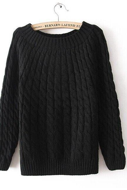 Winter sweater wool sweater o-neck black sweater pullover