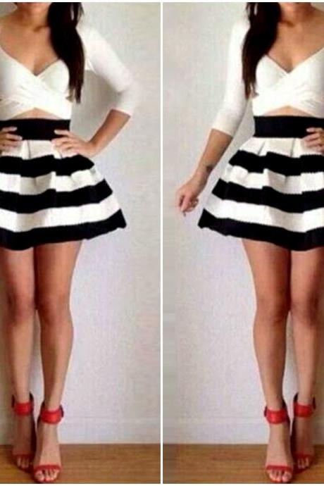 Cute and Sexy Black and White Stripe Long Sleeve Dress
