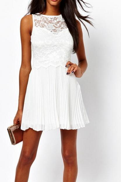 Sexy Round Collar Ruffled Lace Splicing Keyhole Sleeveless White Dress For Women