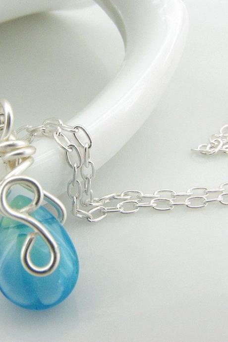 Wire Wrapped Aqua Teardrop Glass and Sterling Silver Necklace