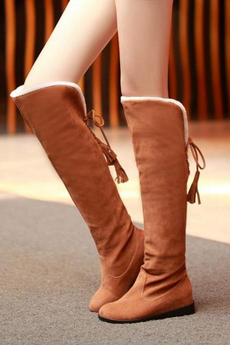 Beautiful Brown Lace up Back Knee High Boots