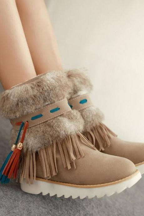 Cute Faux Fur and Tassel Design Winter Boots in Apricot