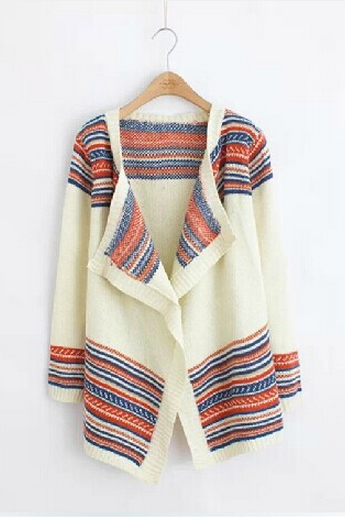 Loose Irregular Stripes Fringed Shawl Cardigan Female Family Name Wind