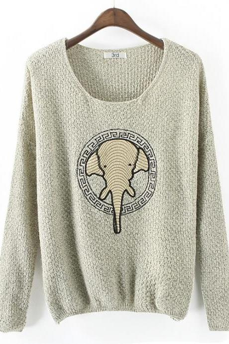 Fashion Elephant Patch Sweater