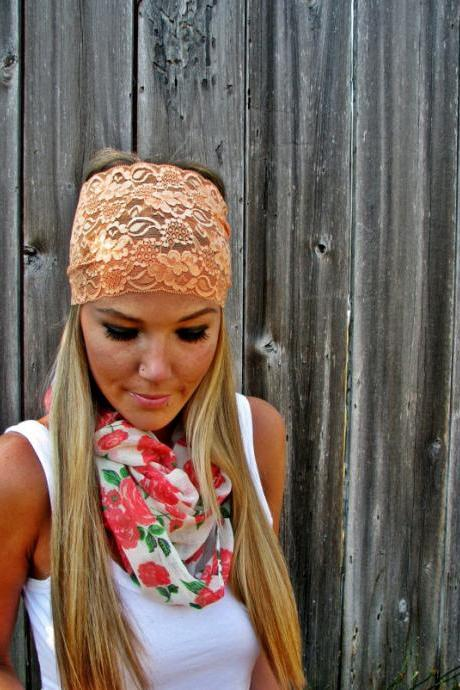 Wide Stretch Lace Fashion Headband in Peach (Soft Orange), Cute Girl Woman Boho Lace Adjustable Hair Band Accessories