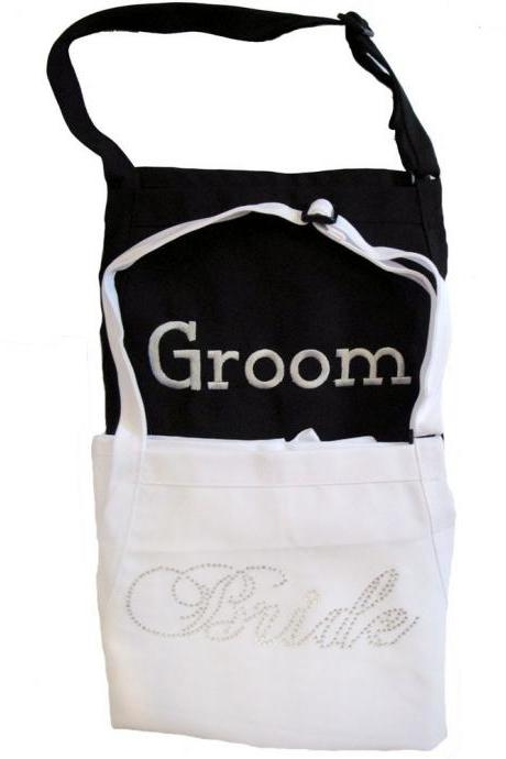 Bride and Groom Apron Set - Fancy Bride Font ------- Rhinestones for Her - Embroidery for Him