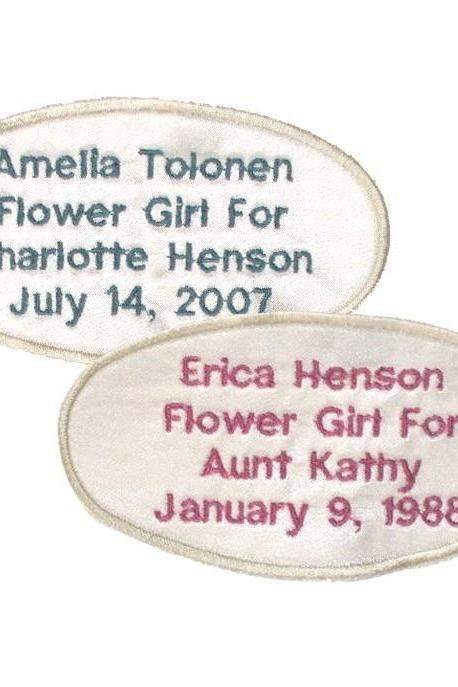 Custom Embroidered Personalized Label for Flower Girl Dress