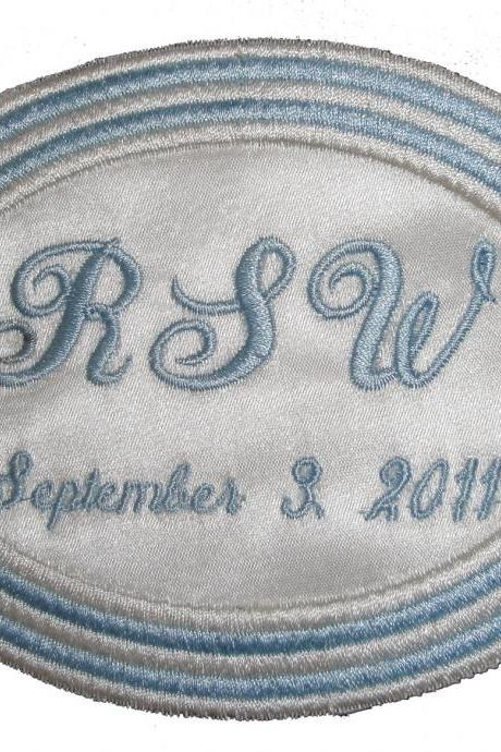 Stephanie Embroidered Personalized Concentric Oval Wedding Gown Label in Bridal Blue and Ivory